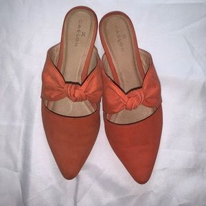 Salmon Caslon knotted mules